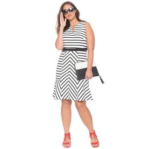 new ELOQUII Opposing Stripes Flared Sheath Dress